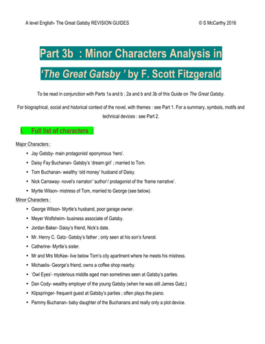 A Level English 'The Great Gatsby' minor characters analysis
