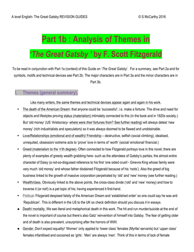 a level english analysis of themes in the great gatsby by  a level english analysis of themes in the great gatsby by siobhanthetutor teaching resources tes
