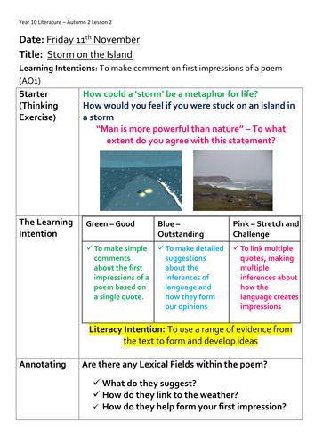 AQA Lit - Poetry Anthology - Storm on the Island