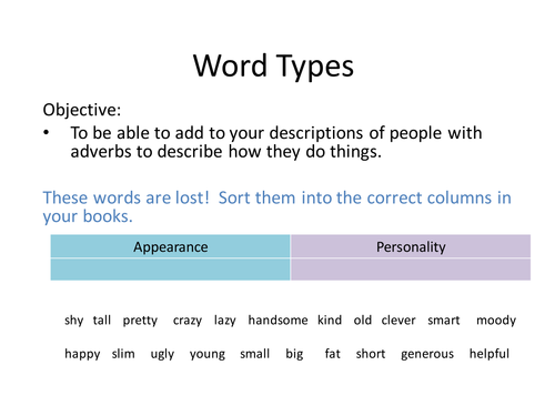 Word Types Active Learning Games