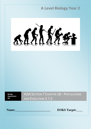 AQA New Specification A-Level Year 2 Chapter 3.7.2 Populations and Evolution Full Unit 5 lessons
