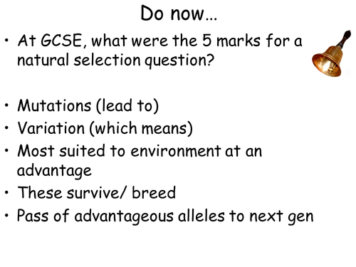 AQA New Spec A-Level Year 2 Chapter 3.7.2 Populations & Evolution Lesson 3 – Selection and Evolution