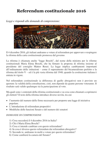 LATEST NEWS: Italian Referendum December 2016 (all in Italian - for advanced learners)