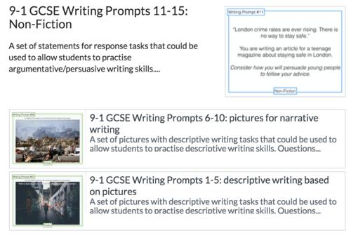 9-1 GCSE Writing Prompts