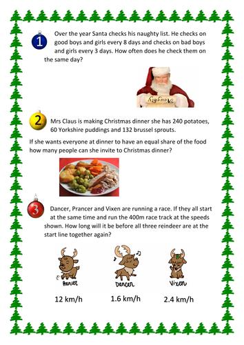 Christmas Problem Solving: HCF LCM