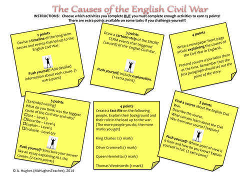 Causes of the English Civil War - choose your own homework menu