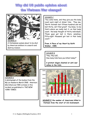 Why did US public opinion turn against the Vietnam War by 1968? Worksheet  DBQ source analysis