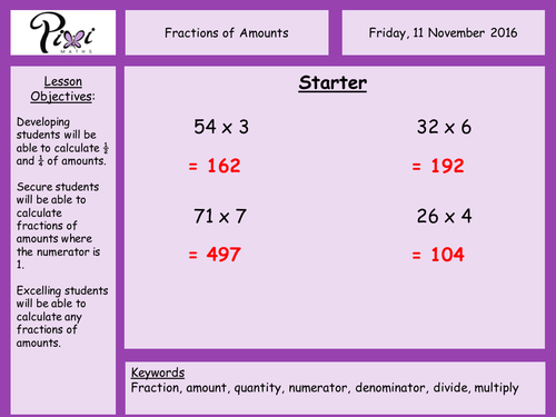 Fractions of amountsquantities by PixiMaths Teaching Resources – Fractions of Quantities Worksheet