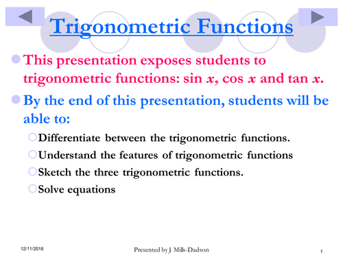 Understanding Trig Functions and their dynamics