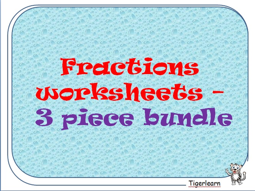 Maths Fractions worksheet 3 piece bundle