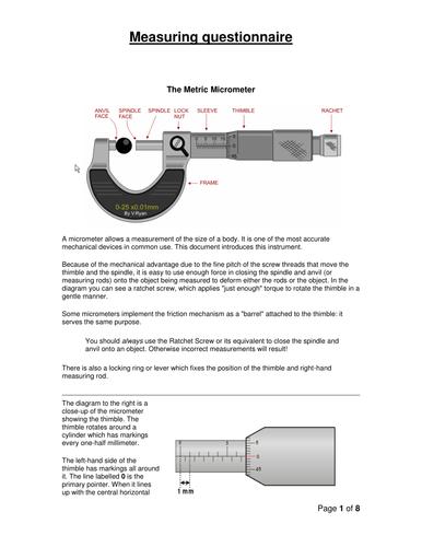Micrometer and Vernier Calliper Measurement Worksheet