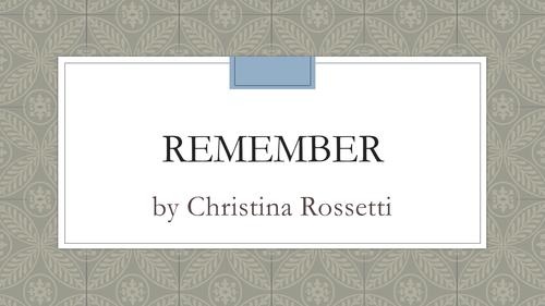 Christina Rossetti's Remember pre 1900 AQA English Literature