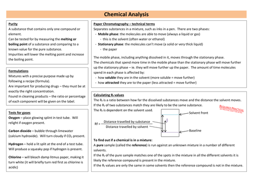 Chemical Analysis Revision Sheet (new AQA)