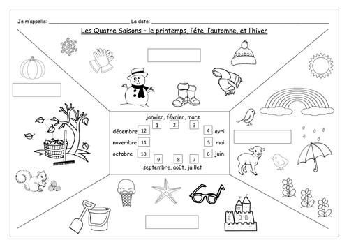 FRENCH - The Four Seasons - Les Quatre Saisons - Worksheets
