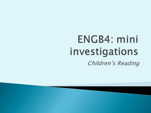 Language in action: mini investigation into children's reading