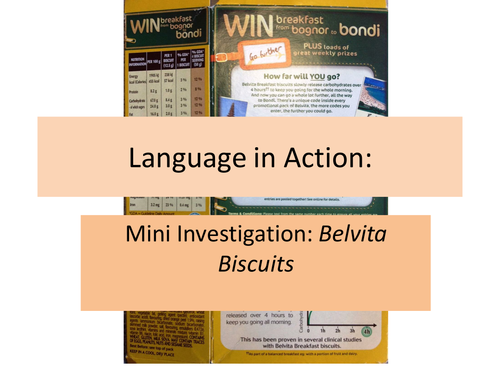 Language in Action: mini investigation into biscuits!