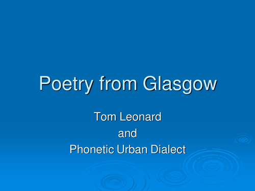 Tom Leonard: Poetry from Glasgow