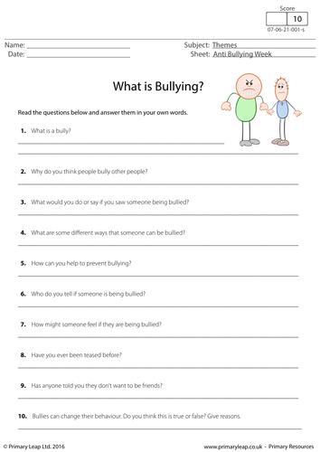 Worksheet: Anti Bullying Week - What is Bullying? by PrimaryLeap ...