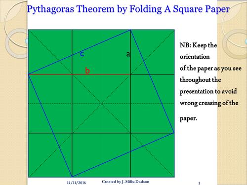 Pythagoraean Theorem - Folding a square to prove Pythagorean Theorem