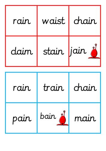 Phase 2 set 1 bingo game (ai, ee, igh, j and ch)