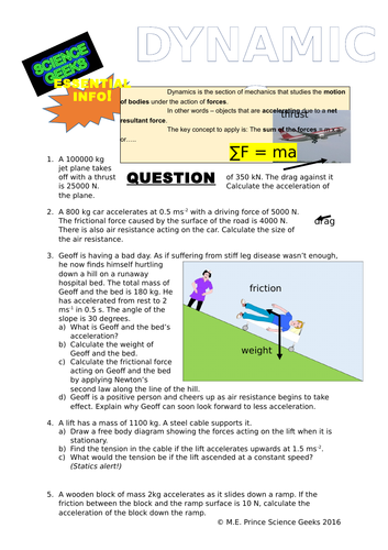 DYNAMICS! - Newton's 2nd Law In Action! by scigeeks | Teaching Resources