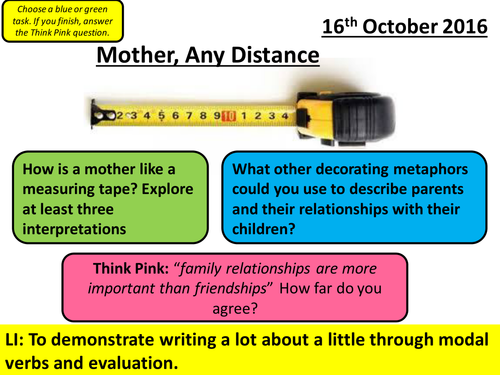 AQA Poetry Cluster - Love and Relationships: Mother, Any Distance