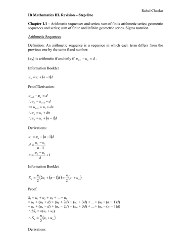 IB Mathematics Revision Notes