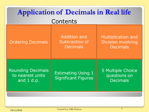 Decimals in real life (functional skills)