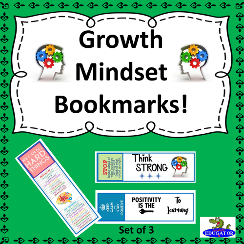 Growth Mindset Bookmarks - The Power of Positive Thinking