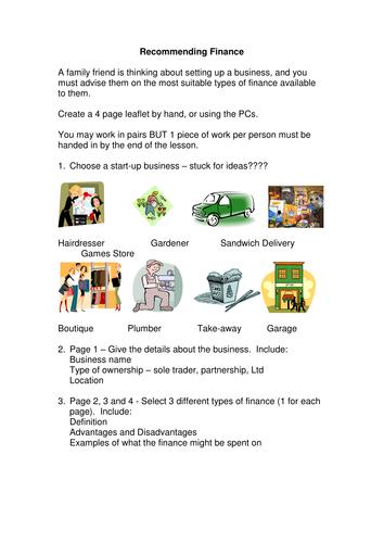 GCSE - Unit 1 - Sources of Finance