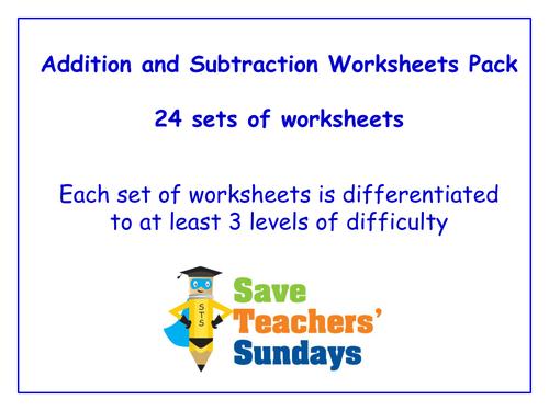 ks1 addition and subtraction worksheets pack 11 sets of differentiated worksheets by. Black Bedroom Furniture Sets. Home Design Ideas
