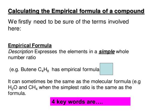Stand alone lesson on Empirical Formula- KS4 chem or AS Chem