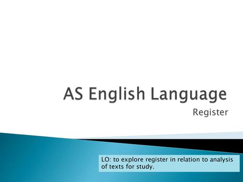 Method of Language Analysis: Register