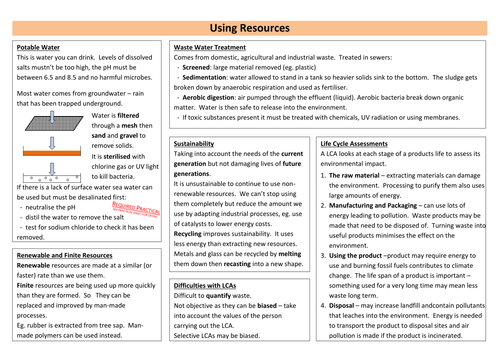 Using Resources Revision Sheet (new AQA)