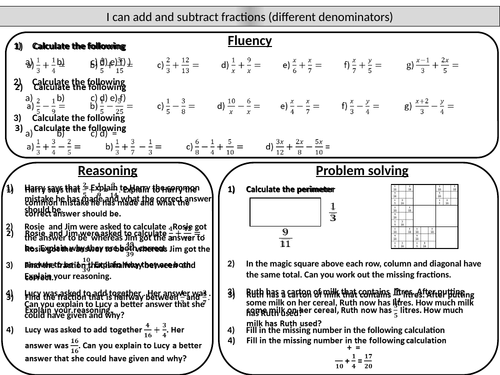 Adding and Subtracting Fractions by smyth75 Teaching Resources Tes – Adding and Subtracting Fractions with Different Denominators Worksheet