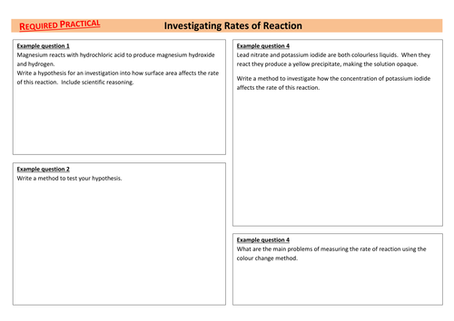 Investigating Rates of Reaction AQA Required Practical Chemistry