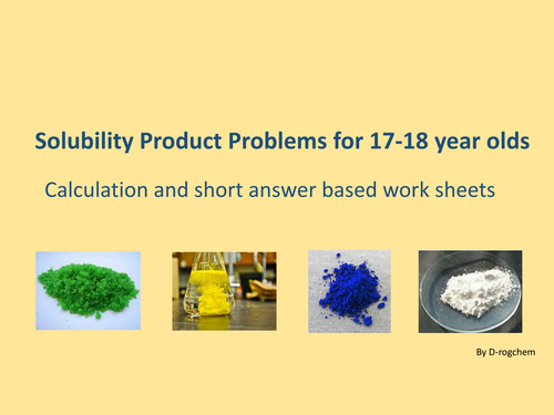 Chemistry: sparingly soluble solids, solubility product and the Common Ion Effect (16-18 yr old).