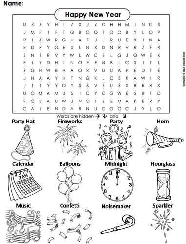 New Years Word Search By Sciencespot Teaching Resources