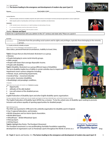 A-level PE EDEXCEL (2016) 5.1: Factors leading to emergence & development of modern sport (P3)