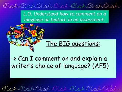Analysing Language Stone Cold - Impact of writer's language choices
