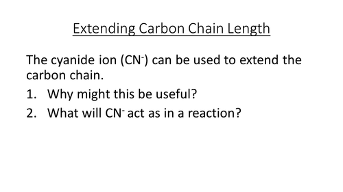 Extending the Carbon Chain Length and reactions of nitriles - complete lesson OCR