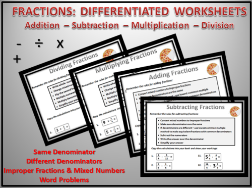FRACTIONS Worksheets: Add-Subtract-Multiply-Divide