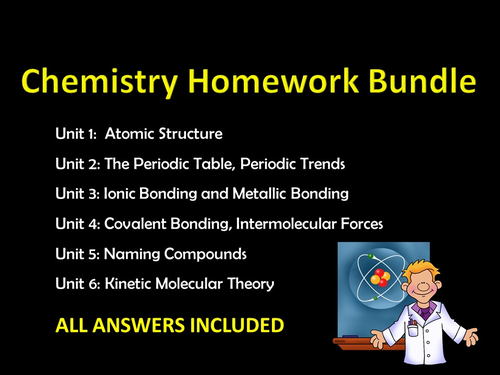 Chemistry Homework Bundle w/ ANSWERS and Sample Test Questions, editable