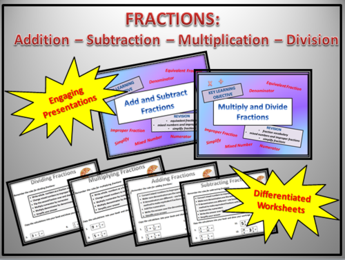 FRACTIONS : ADD - SUBTRACT- MULTIPLY - DIVIDE