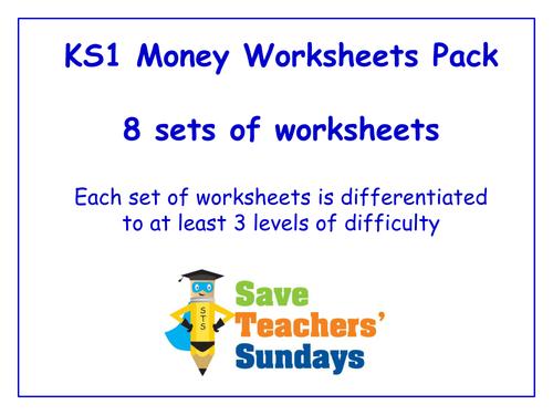ks1 money worksheets pack 8 sets of differentiated worksheets by saveteacherssundays. Black Bedroom Furniture Sets. Home Design Ideas