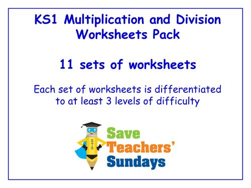 ks1 multiplication and division worksheets pack 11 sets of differentiated worksheets by. Black Bedroom Furniture Sets. Home Design Ideas
