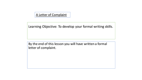 Formal letter writing - To complain
