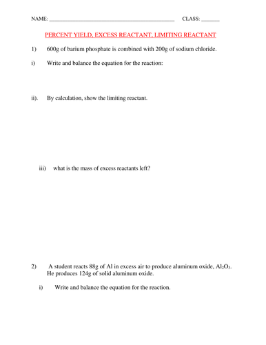 PERCENT YIELD AND LIMITING REACTANT WORKSHEET WITH ANSWERS by ...