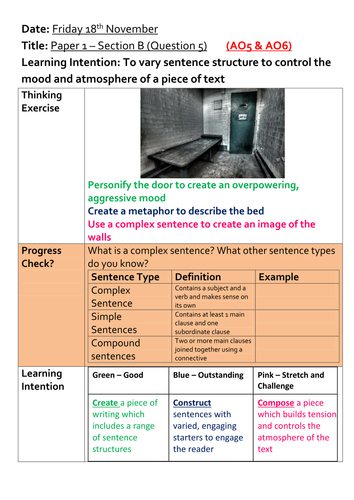 Descriptive writing - varying sentence structure for effect