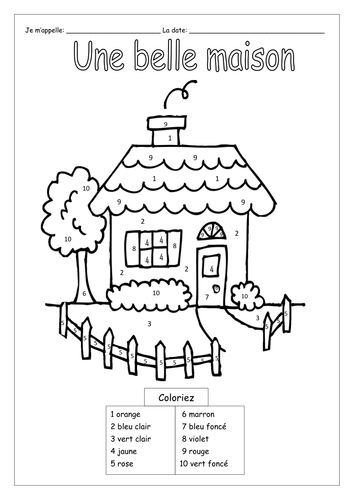 Colouring By Number Ks1 : FRENCH ~ Colour by Numbers by labellaroma Teaching Resources Tes